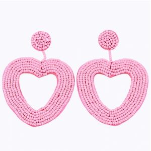 Large Pink Beaded Heart Drop Statement Earrings